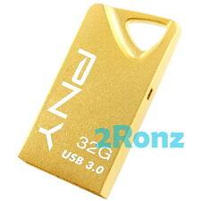 PNY T3 Attache Gold 32GB 32G USB 3.0 Flash Drive Stick Thumb Disk Memory Metal