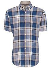 FYNCH HATTON® Linen Check Short Sleeve Shirt/Earth - XL New SS19!