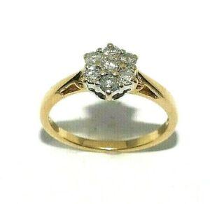 Ladies 18ct yellow gold ring set with half a carat of diamonds, UK size O