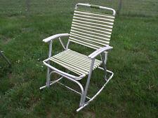 Vintage Mid-Century Aluminum Two-Tone Tube Wrap Folding Rocking Chair