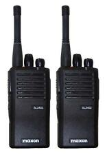 MAXON SL3402 UHF 4 WATT WALKIE-TALKIE TWO WAY RADIOS & G-SHAPE EARPIECES x 2