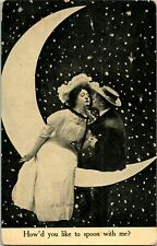 """Vtg Postcard 1908 Romance Couple on Paper Moon """".Spoon With Me"""" Valentines"""