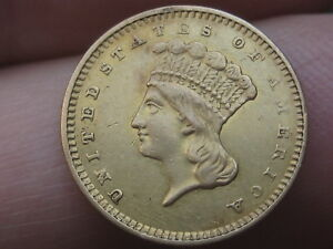 1857-S $1 Gold Liberty Head One Dollar Coin- Very Rare Date