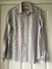 Poggianti Italian Men's Shirt Grey Pink Stripe Medium Excellent Condition 15 1/2