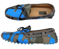 Valentino Auth Blue Green Camouflage Loafers Leather Camo Drivers 42 US 9 W/ Box