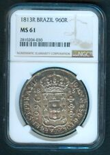1813 R BRAZIL 960 Reis Coin NGC MS 61 -  Certified Coin in UNC condition.