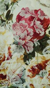 New Croscill Portrait shower curtain Shades of gold & deep red floral beautiful