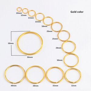Gold Plating Keyrings Metal Split Keychain Hoop Ring elastic Loop 10mm TO 50MM