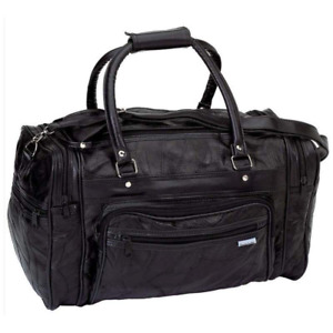 """18"""" Black Leather Gym Carry On Travel Bag Duffle Satchel Tote Mens Womens"""