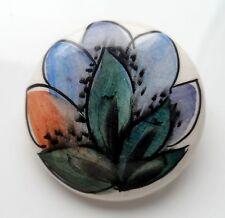 Vintage Arts & Crafts-W. Morris Estilo Broche de cerámica pintado a mano