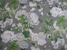 Schumacher Curtain Fabric Design Bermuda Blossoms 4 Metres Slate Mary McDonald