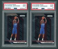 2x Shai Gilgeous Alexander Panini Prizm Rookie Card #184 PSA 9 Mint.