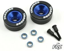 Traxxas Rustler  Aluminum Wheelie Bar Wheel Set w/Rubber Tires Blue 2 TRA5186A
