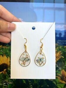 Handmade Pressed Flower Epoxy Resin Gold Dangle Drop Earrings - Cute Earrings