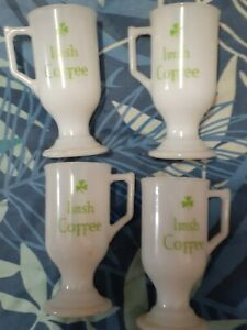 4 x milk glass irish coffee mug brighter green writing 14cm