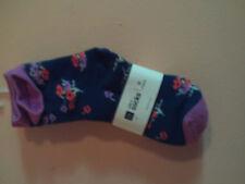 NWT Gap Kids girl 2pk of socks; navy w/flowers & navy w/multi-color stripes; M