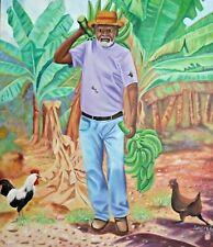 "ORIGINAL HAITIAN ART PAINTING LOVENS HAITI REALISM ""PLANTAIN FARMER"" 30""x40"""