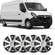 """15"""" Vauxhall Movano fit Wheel Trims Van Hubcaps Set of 4 Black Silver Quality"""