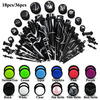 Acrylic Ear Taper Stretching Kit Gauge Expenders set Tunnel Plugs Ear Piercing