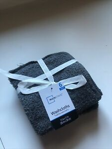 "Dark Gray Washcloths 6 Pack 100% Cotton 11"" X 11"" New  Towel Soft Cloth Color"