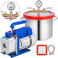 3 CFM Vacuum Pump 1.5 Gallon Vacuum Chamber Manifold Gauges Silicone Gasket