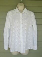 Lands End Womens White Embroidered Eyelet LS Button Down Shirt  12 petite 12P