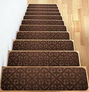 Elogio Carpet Stair Treads Set of 13 Non Slip Skid Rubber Runner Mats Rug Tre...