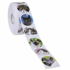 1000-Count Cat Kitten Roll Stickers, 8 Cute Designs, Round Adhesives for Kids