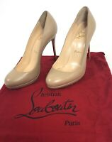 Christian Louboutin FILO 120 Round Toe Pumps Matte Nude Tan Leather size 37½