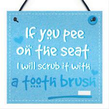 Funny Toilet Sign Pee on The Seat Chic Bathroom Door Wall Loo Art Plaque Gift