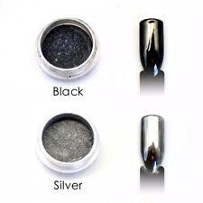 2 pots SET BLACK and SILVER Nail CHROME MIRROR POWDER