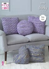EASY KNIT CUSHION'S IN  CHUNKY YARN KNITTING PATTERN  KING COLE 5193