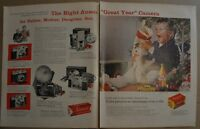 1956 ANSCO CAMERA 2-page advertisement, cameras & film for Christmas