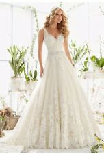 UK White/ivory Lace Sleeveless Wedding Dress Bridal Gown Sizes 6-22