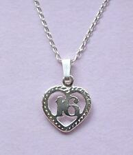 16th Birthday Heart Pendant & Chain Necklace STERLING SILVER 925