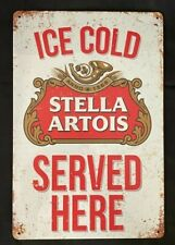 Stella Artois Beer Vintage Antique Collectible Tin Metal Sign Wall Decor