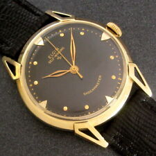 Mens 1950s Elgin CARIBBEAN 14k Solid Gold Shockmaster Automatic Black Dial Watch