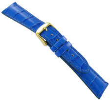 20mm deBeer Baby Crocodile Grain Blue Padded Stitched Watch Band Strap