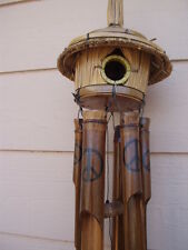 Tiki Thatch Bird House Painted Peace Sign Symbol Bamboo Wind Chimes FREE SHIP