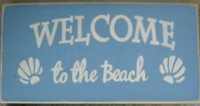 Welcome To The Beach Cottage Chic Shells Hp Sign Plaque U-Pick Color Wood Hp