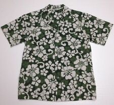 Classic Vintage 1960's MADE IN HAWAII Women's White Hibiscus On Green Shirt