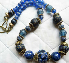 Islamic Eye Glass Beads Necklace with Lapis Lazuli and Lampwork Glass Beads