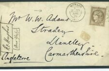 FRANCE Cover Used MONACO CASINO RECEIVER *A* GB WALES Llanelly 1875 F176a