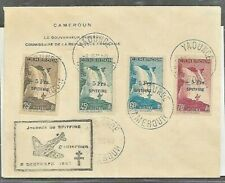 French Cameroons Yv 236 to 39 COVER OVPT SPITFIRE See DESCRIPTION SCAN  VF