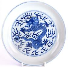 More details for m050 chinese blue & white dragon dish six character qianlong mark