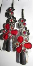 New 2 Red Flower Hair Clip Rhinestones Crystals Alligator Clip Floral Barrette