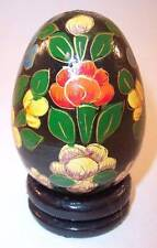 Handpainted Black & Bright Floral Collectible Egg with Wood Stand, Made in India
