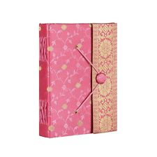 vSari Fabric Journal Notebook Diary, Pink, 14cm x 18.5cm Unlined Recycled Paper