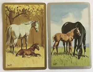 Vintage Swap Playing Cards- HORSES In A Field. Gold/ Silver Borders.