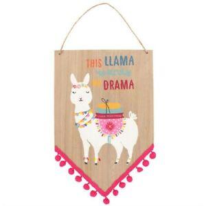 Colourful Cute Llama Hanging Wooden Sign Decorative Lama Wall Plaque 30cm